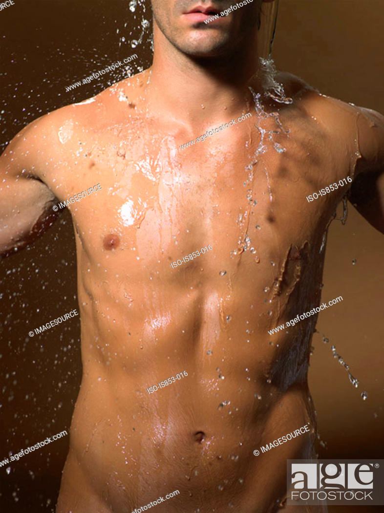 Stock Photo: Man showering.