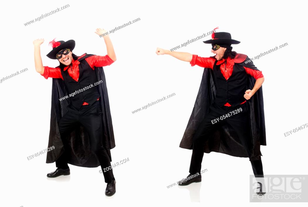 Stock Photo: The young man in carnival coat isolated on white.