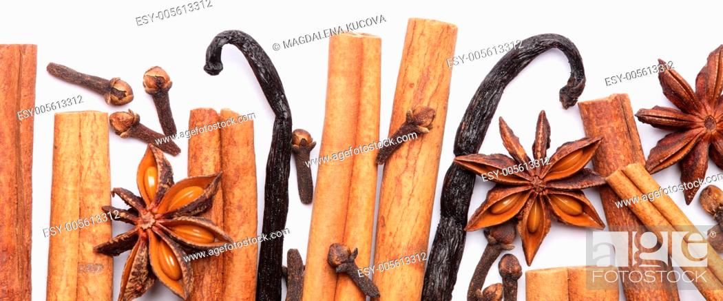 Stock Photo: White background with spices border.