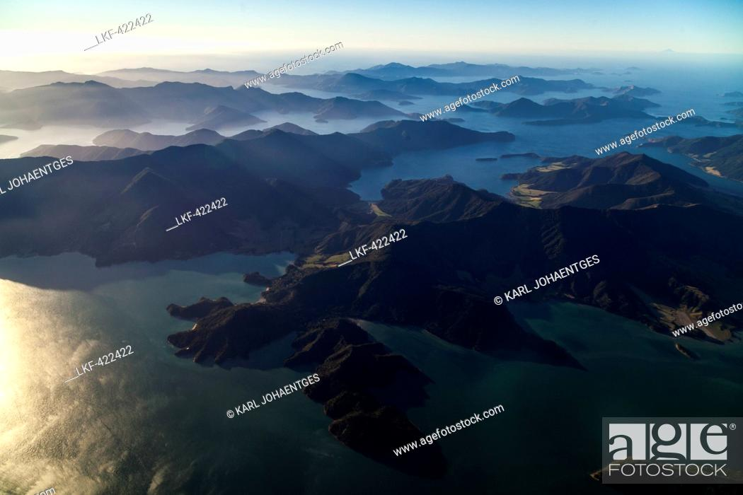 Aerial View Of Bays And Islands At Marlborough Sounds South Island
