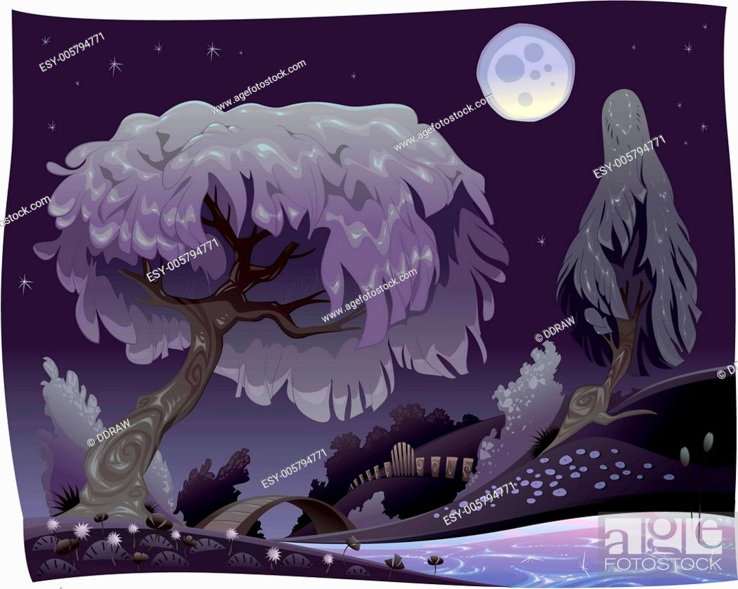 Stock Vector: Landscape in the night with river.