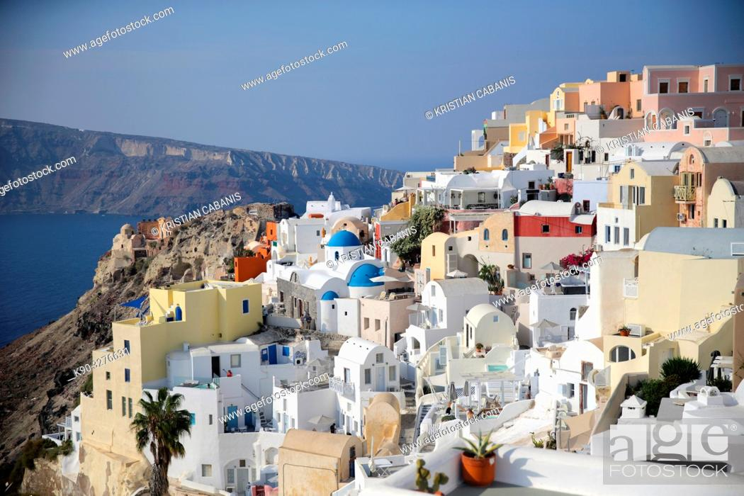 Stock Photo: Houses in Oia, Santorin, Greece, Europe.