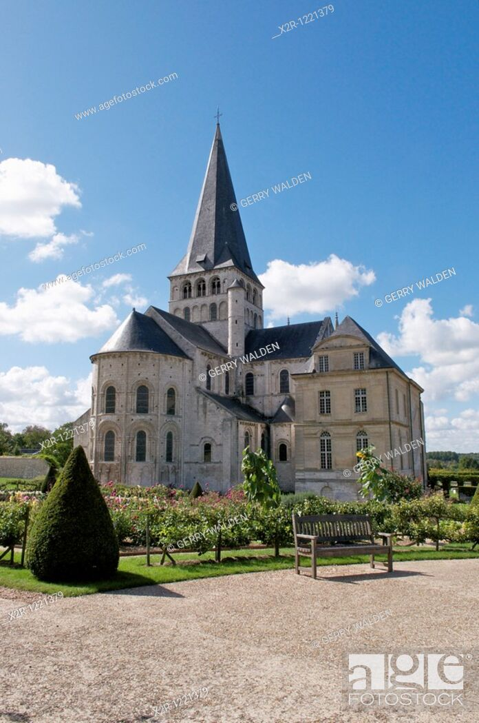 Stock Photo: The Norman abbey of Saint Georges de Boscherville in the village of Saint-Martin-de-Boscherville in the Seine-Maritime region of Normandy, France.