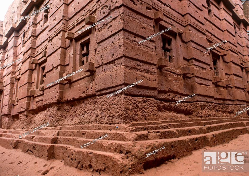 Stock Photo: Ethiopia, Amhara Region, Lalibela, monolithic rock-cut church corner.