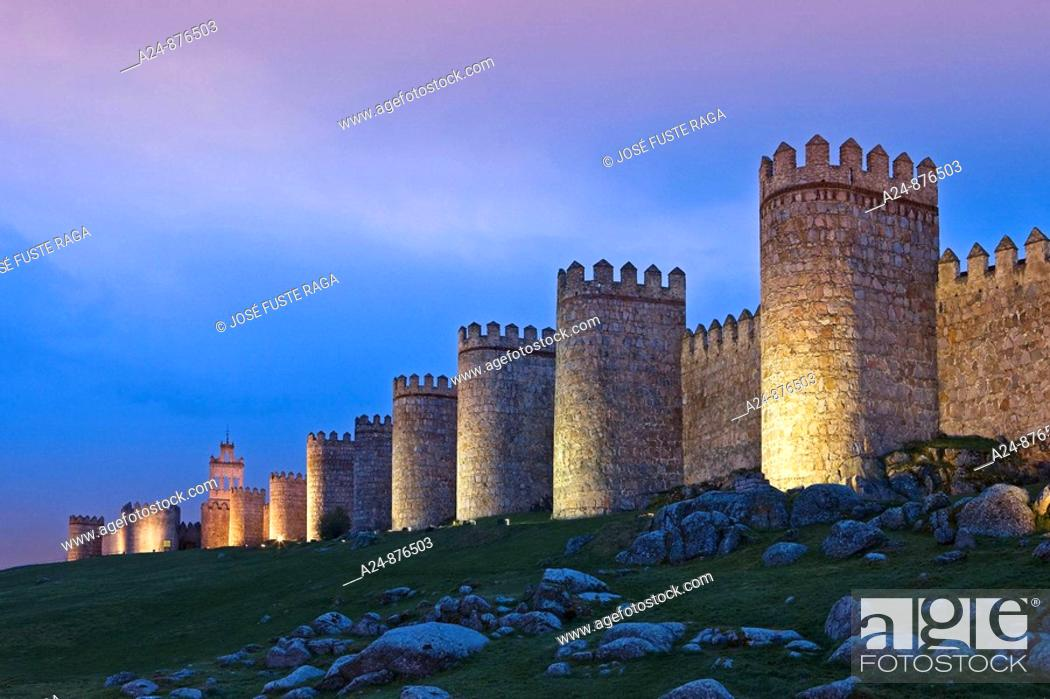 Stock Photo: City walls, Avila. Castilla-Leon, Spain (April 2009).