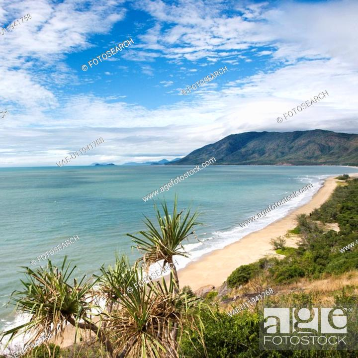 Stock Photo: Scenic coastal view from Queensland Rex Lookout with mountains in background and grassy vegetation in foreground.