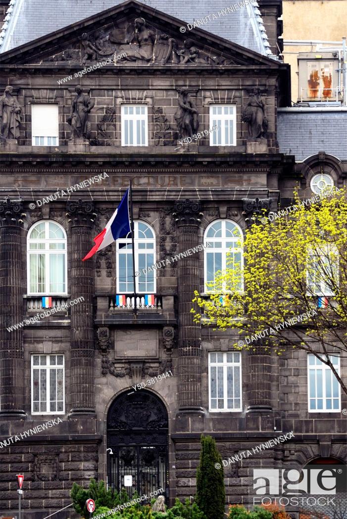 Stock Photo: Former building of Prefecture near Place de Jaude, historic part of Clermont-Ferrand, Puy-de-Dôme, Auvergne, Auvergne-Rhône-Alpes, France, Europe.