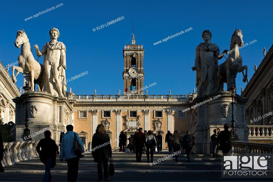 Stock Photo: Dioscuri Statue, Piazza del Campidoglio, Rome, Latium, Italy.