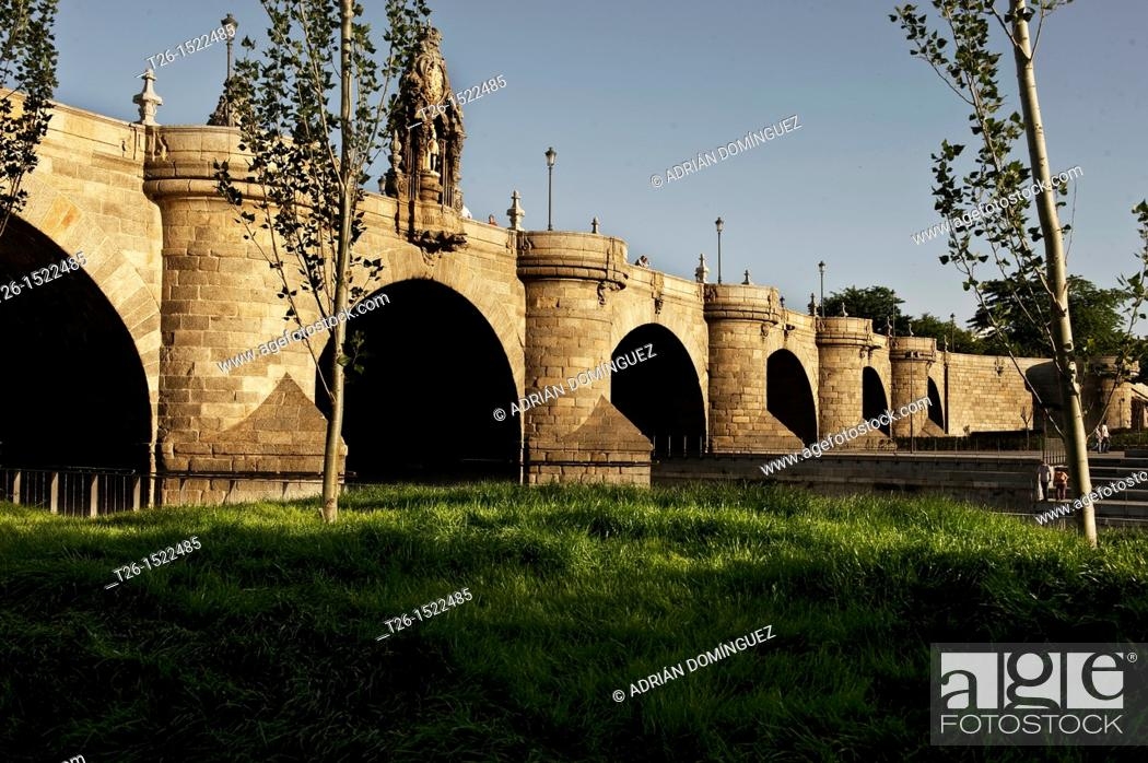 Stock Photo: The bridge of Segovia at Manzanares river. Madrid, Spain.
