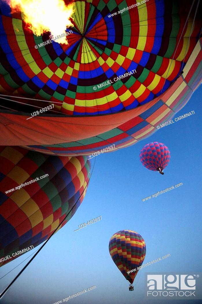 Stock Photo: Hot-air balloons over Göreme valley. Cappadocia, Turkey.