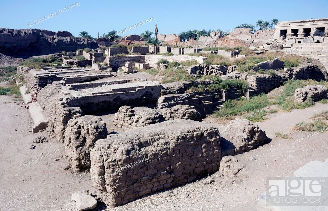 Stock Photo: Dendera Egypt, temple dedicated to the goddess Hathor. View of remainings of the sanatorium.