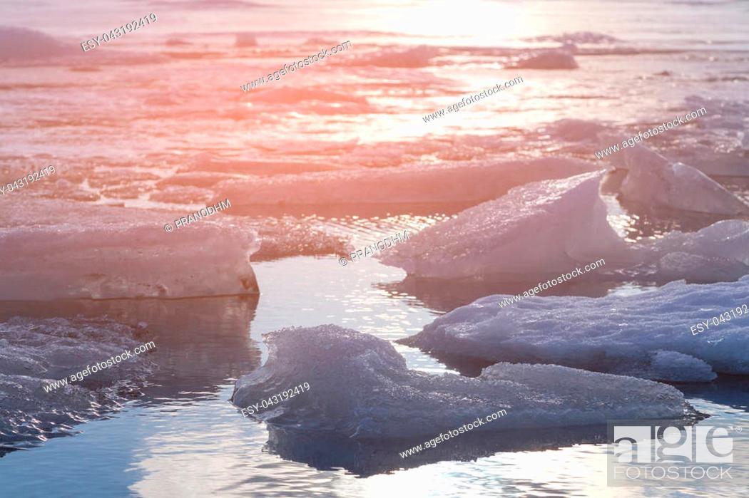 Stock Photo: Ice crack on Jokulsarlon winter season lagoon, Iceland winter season natural landscape.