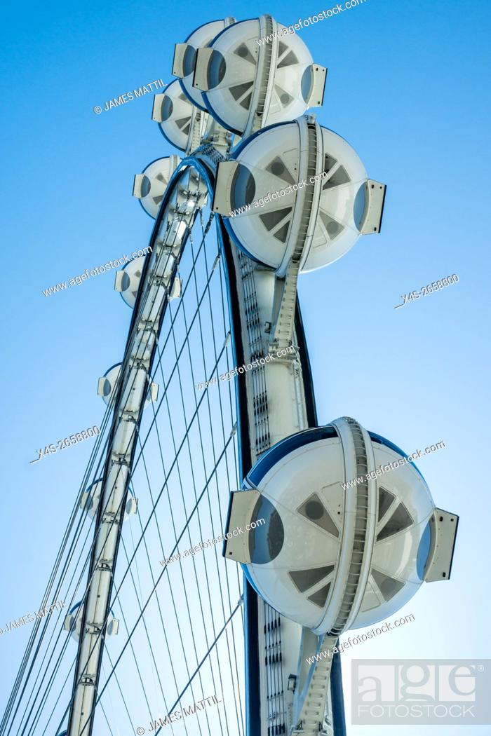 Stock Photo: The 520-foot diameter High Roller is the world's largest observation wheel and a dominant landmark in Las Vegas.