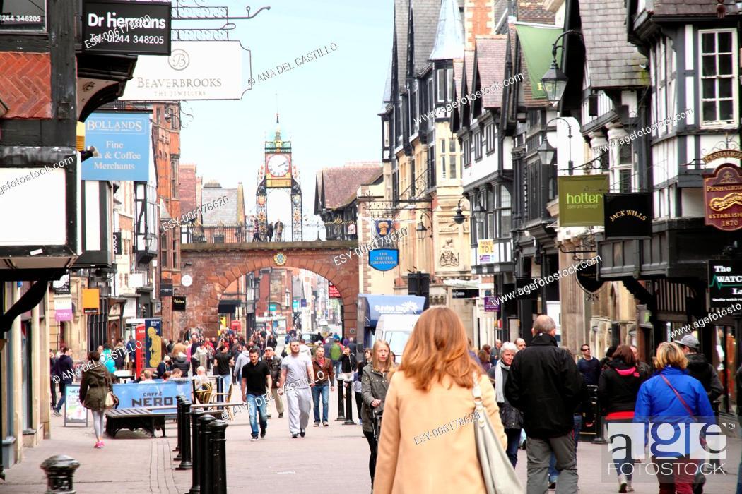 Stock Photo: Eastgate clock Chester England UK.
