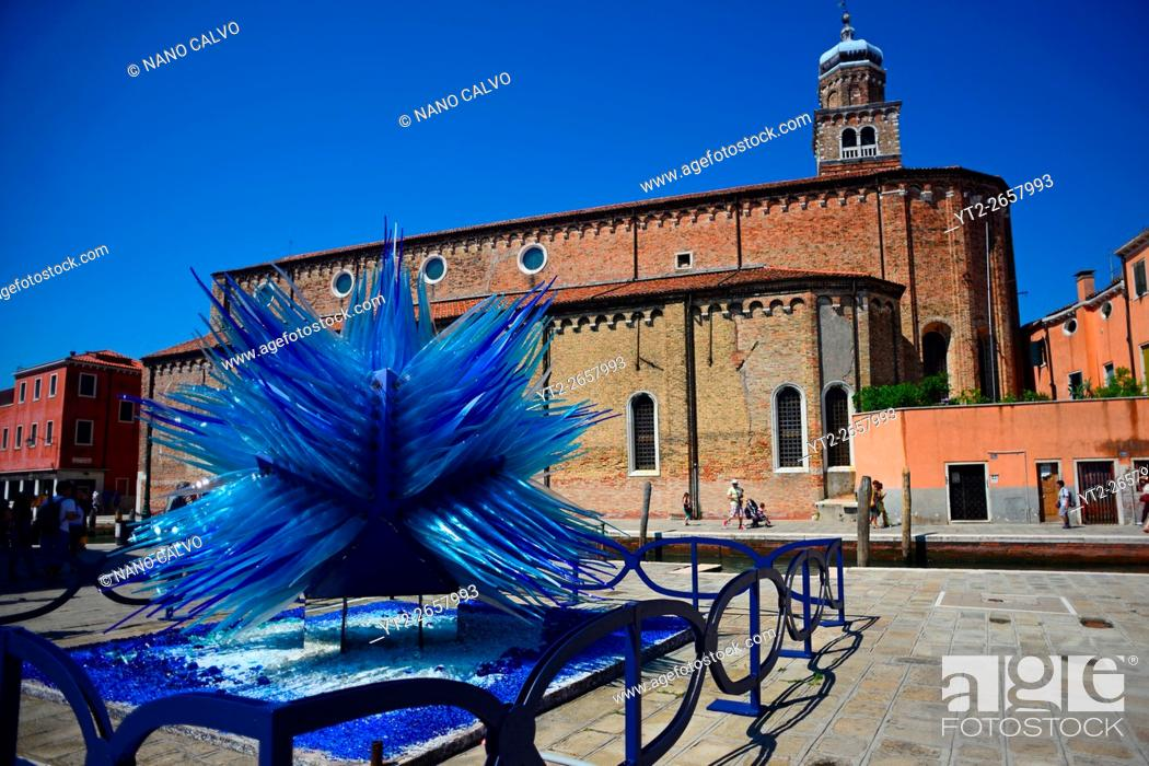 """Stock Photo: """"""""""""""""""""Comet Glass Star"""""""" sculpture made for Christmas 2007 by Master glass maker Simone Cenedese, displayed at Campo Santo Stefano, Murano, Venice, Italy."""