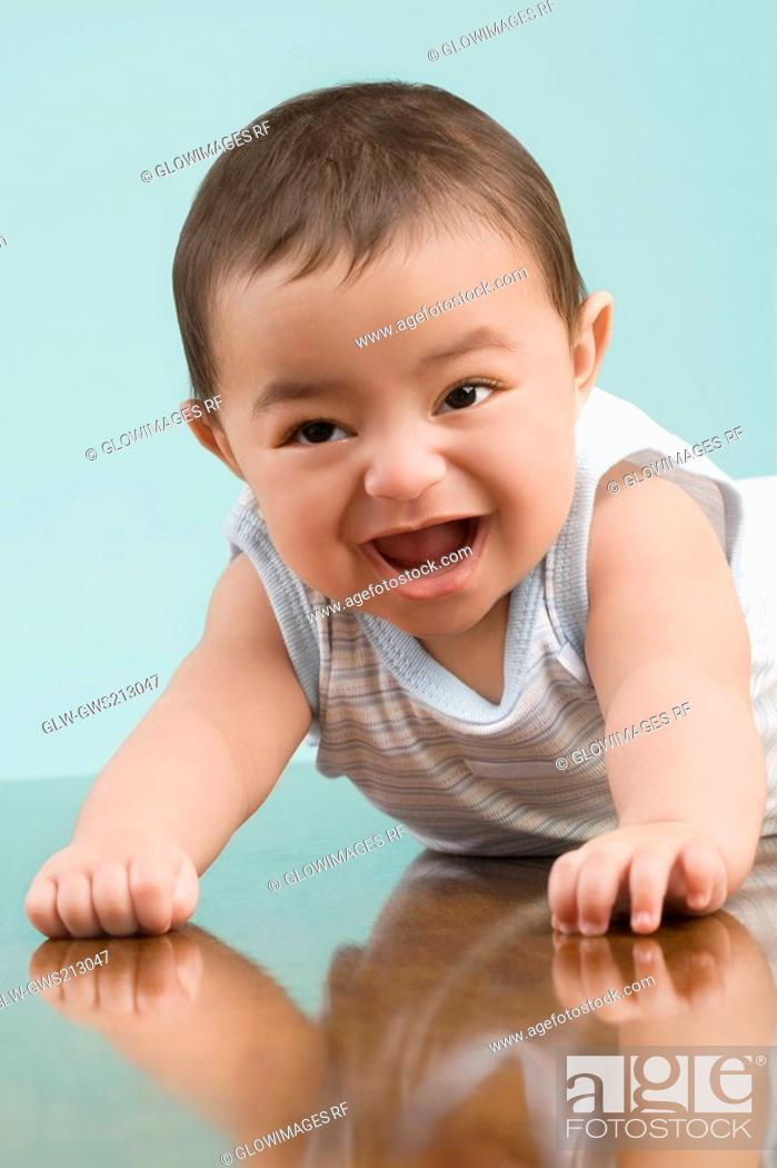 Stock Photo: Close-up of a baby boy smiling.