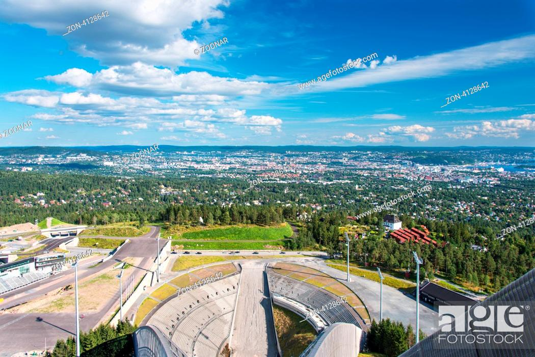 Stock Photo: OSLO - AUGUST 19: Holmenkollbakken is large ski jumping hill located in Oslo, Norway. It has hill size of HS134 and a capacity for 30, 000 spectators.
