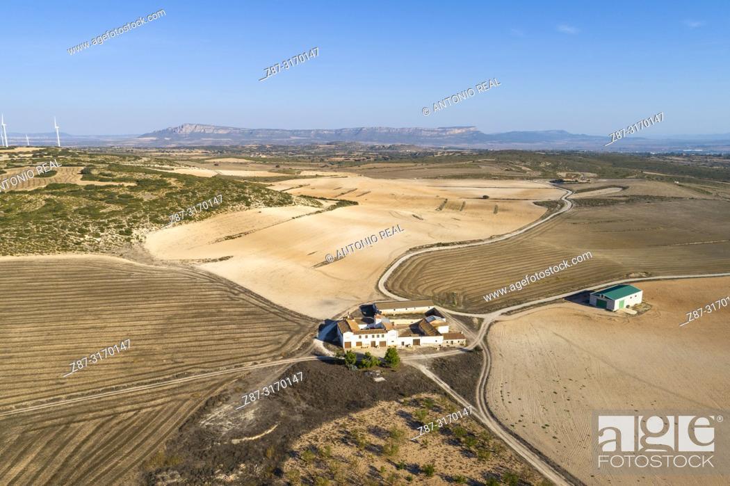 Stock Photo: Casa de Labor de Las Encebras y el Mugrón, drone view. Almansa, Albacete province, Spain.