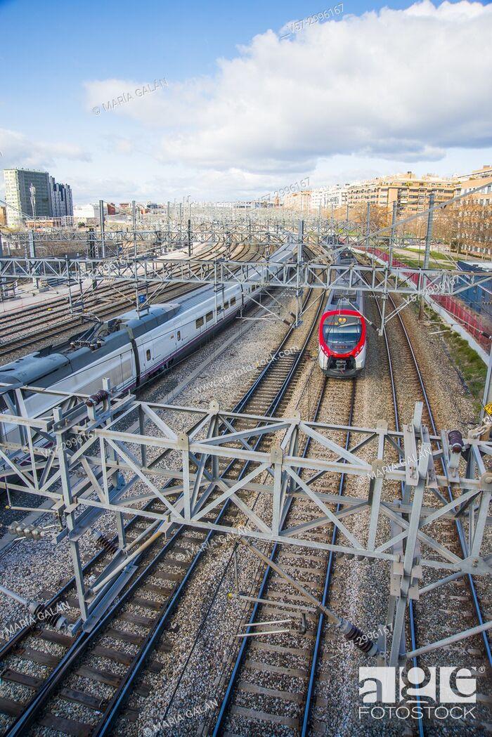 Stock Photo: Tracks near Puerta de Atocha Railway Station. Madrid, Spain.