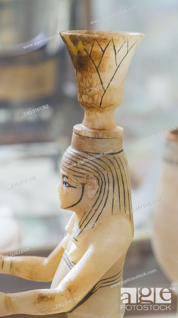 Stock Photo: Egypt, Cairo, Egyptian Museum, Tutankhamon alabaster, from his tomb in Luxor : Detail of a composite vessel, a vase in the shape of the Nile god Hapy.