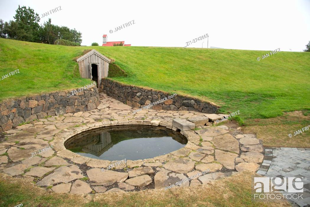 Stock Photo: hot spring near church at Sorralaug, Iceland.