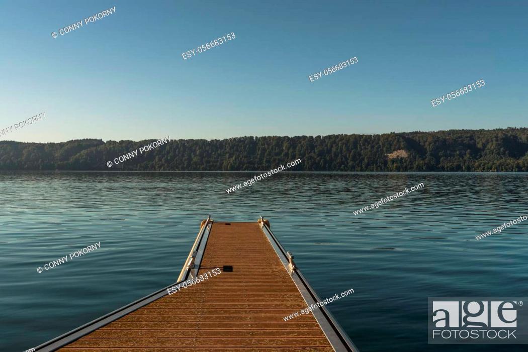 Stock Photo: Wooden jetty in Sipplingen on Lake Constance, Baden-Wuerttemberg, Germany.