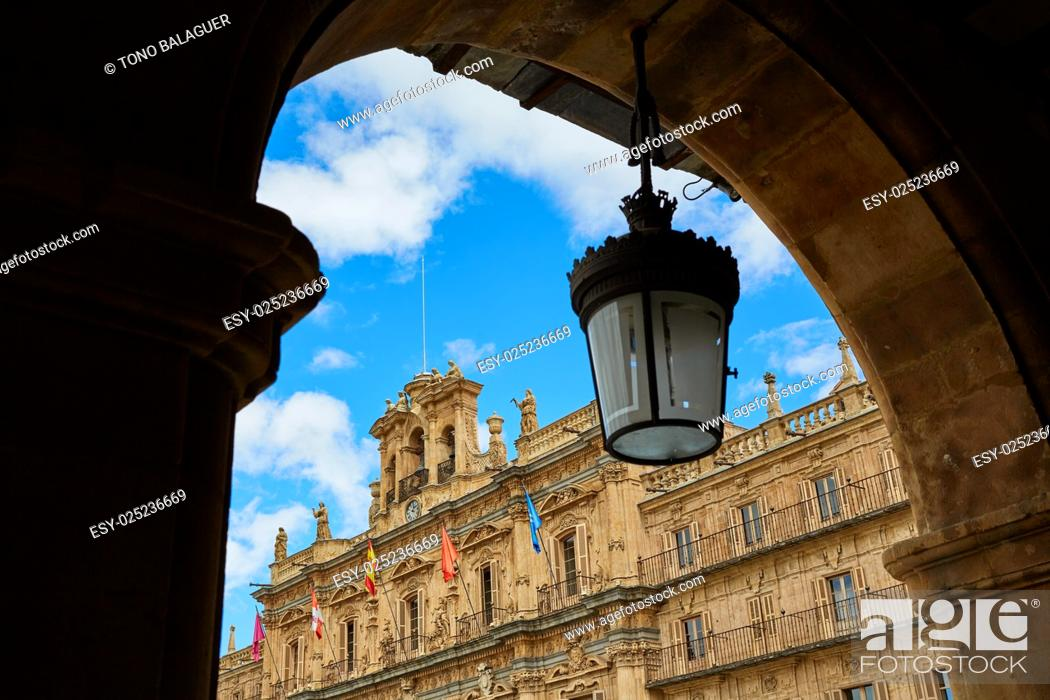 Stock Photo: Salamanca Plaza Mayor in Spain along via de la Plata way to Santiago.