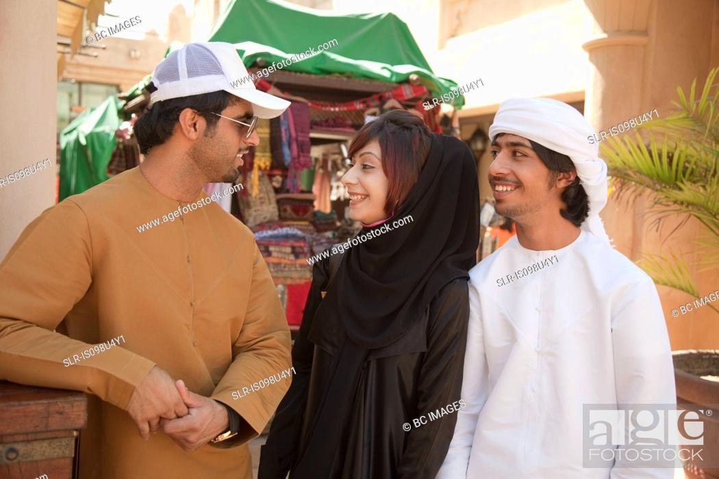 Stock Photo: Middle Eastern people talking together.