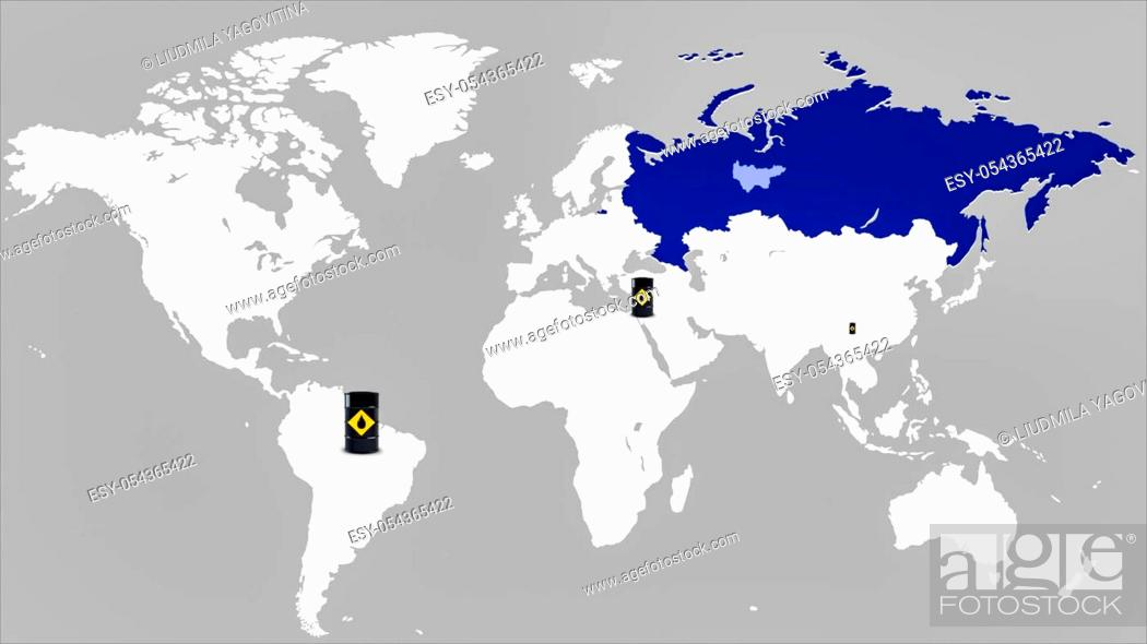 Imagen: Map of the world and Russia, illustration map of Russia. Oil barrels, oil production points.