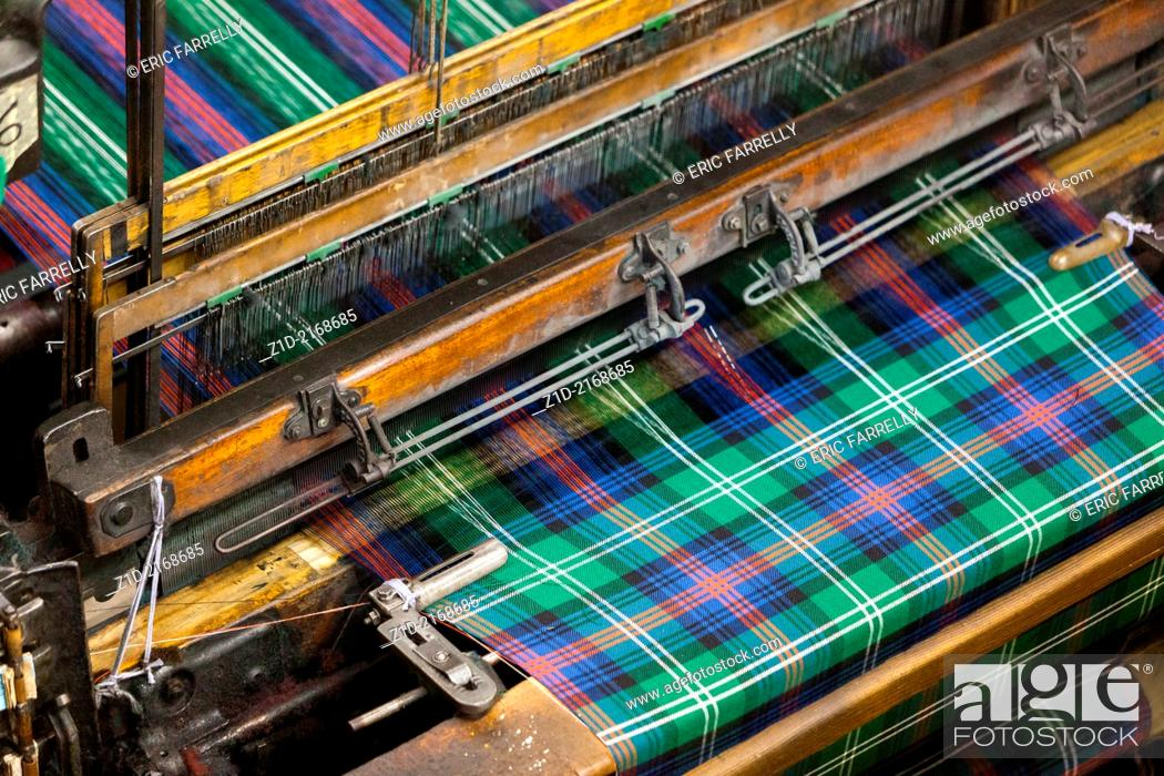 Rolls of Tartan Material being produced for sale  Kilt Shop