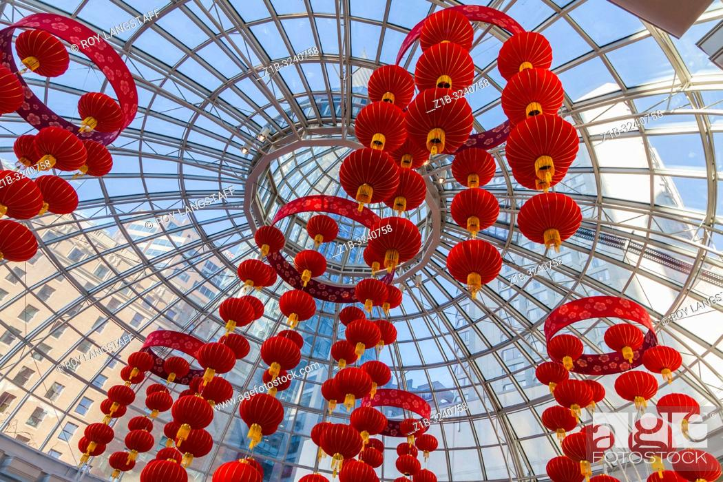 Stock Photo: Decorative lanterns hanging in the entrance to a shopping mall in Vancouver for Chinese New Year.