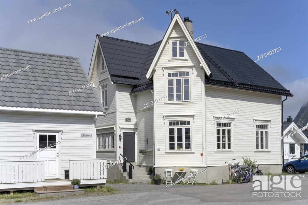 Stock Photo: cityscape with traditional white house at Artic village, shot under bright summer light at Bleik, Andoya, Vesteralen, Norway.