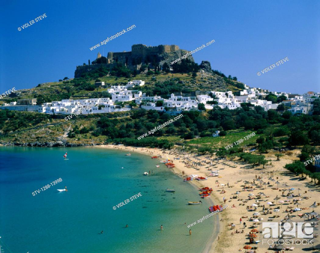 Stock Photo: Acropolis, Beach, Coastline, Crowd, Greece, Europe, Holiday, Landmark, Lindos, Outdoors, People, Residential, Resort, Rhodes, To.