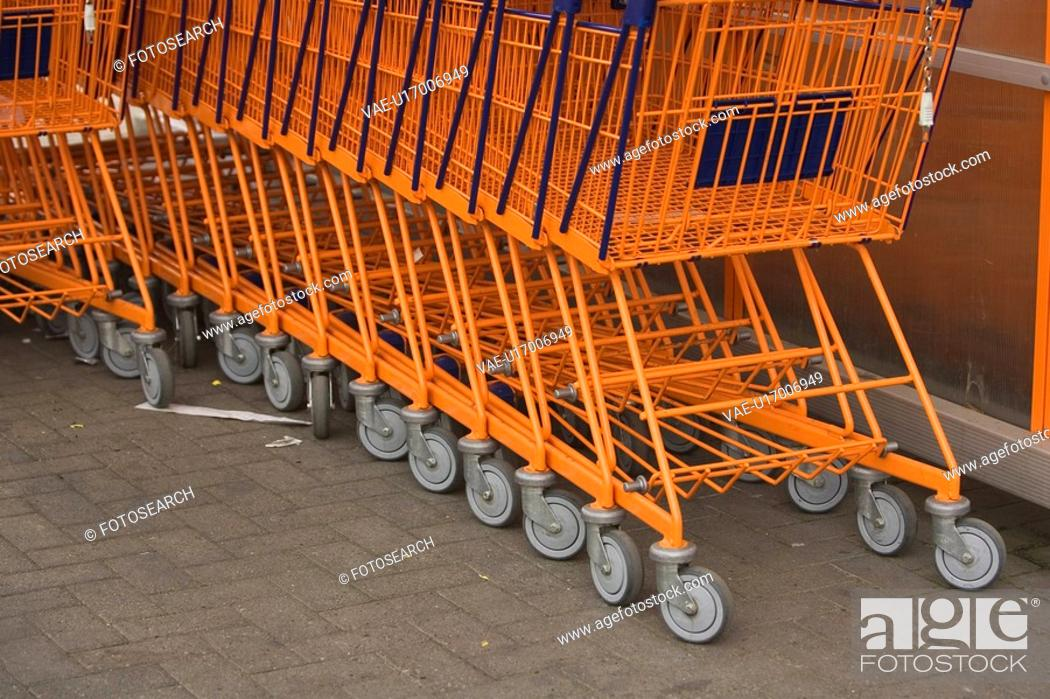 Stock Photo: Cart, Close-Up, Floor, Full Frame, Group Of Objects.