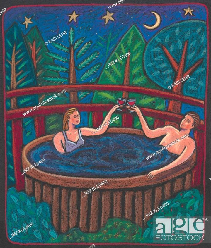 Stock Photo: A couple toasting each other with wine in the hot tub under the night sky.