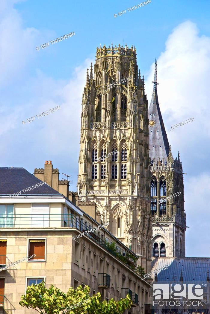 Stock Photo: Butter tower and Saint Romain tower, Notre Dame cathedral, Rouen, 76, Normandy, France.