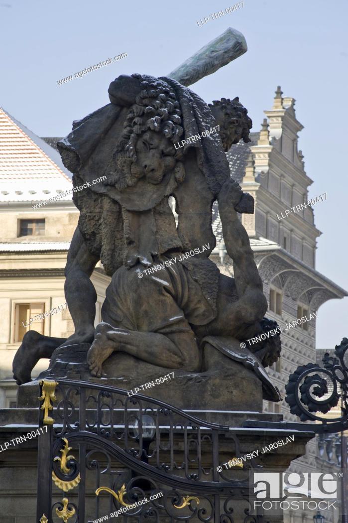 Stock Photo: Prague Castle, detail of portal.