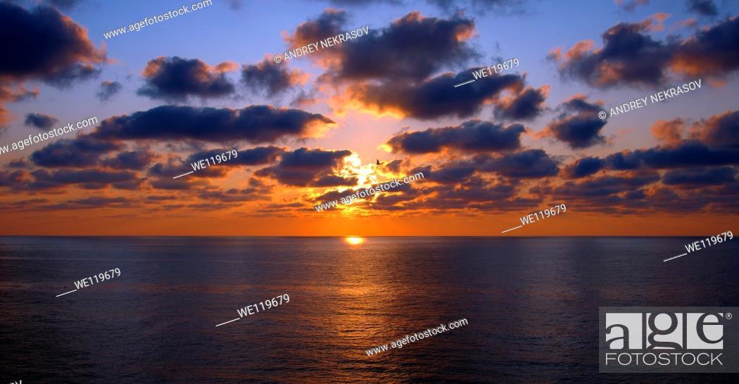 Stock Photo: Sunset, Zmiinyi Island, Snake Island, Black Sea, Odessa, Ukraine, Eastern Europe.