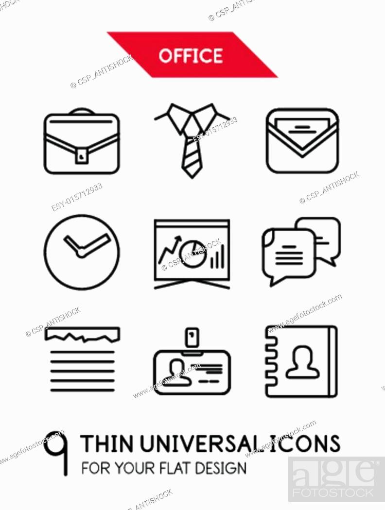 Stock Vector: Collection of office trendy thin line icons.