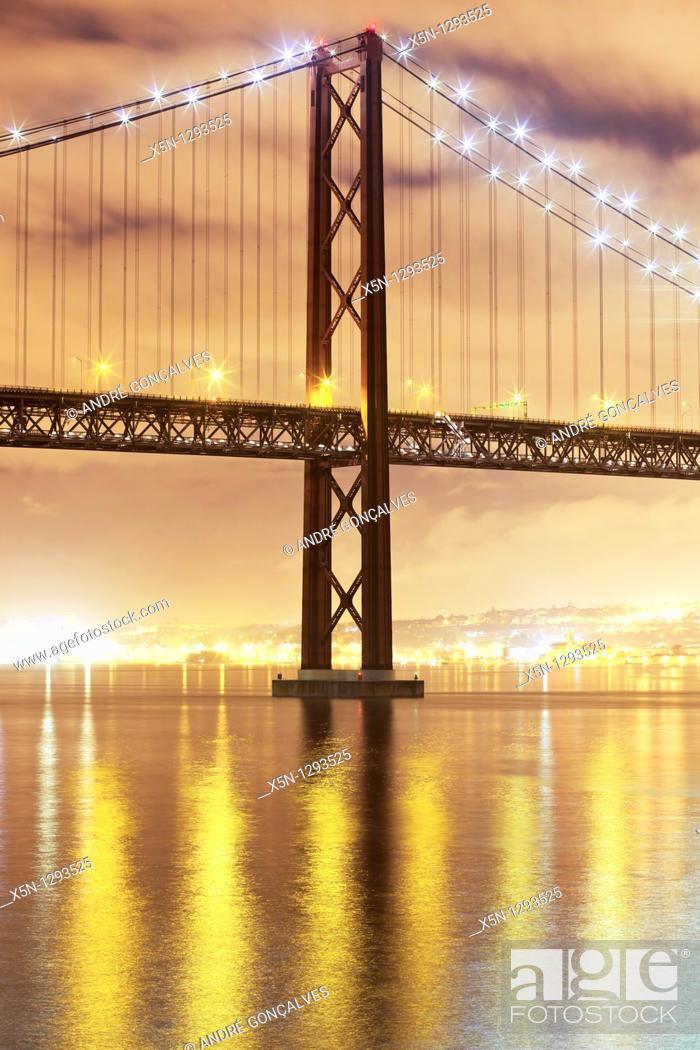 Stock Photo: 25th April Bridge, Lisbon, Portugal.