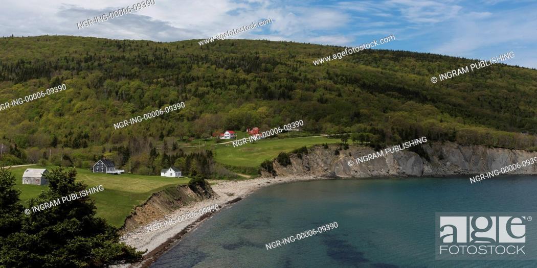 Stock Photo: Scenic view of village at coastline, Cape North, Cape Breton Island, Nova Scotia, Canada.
