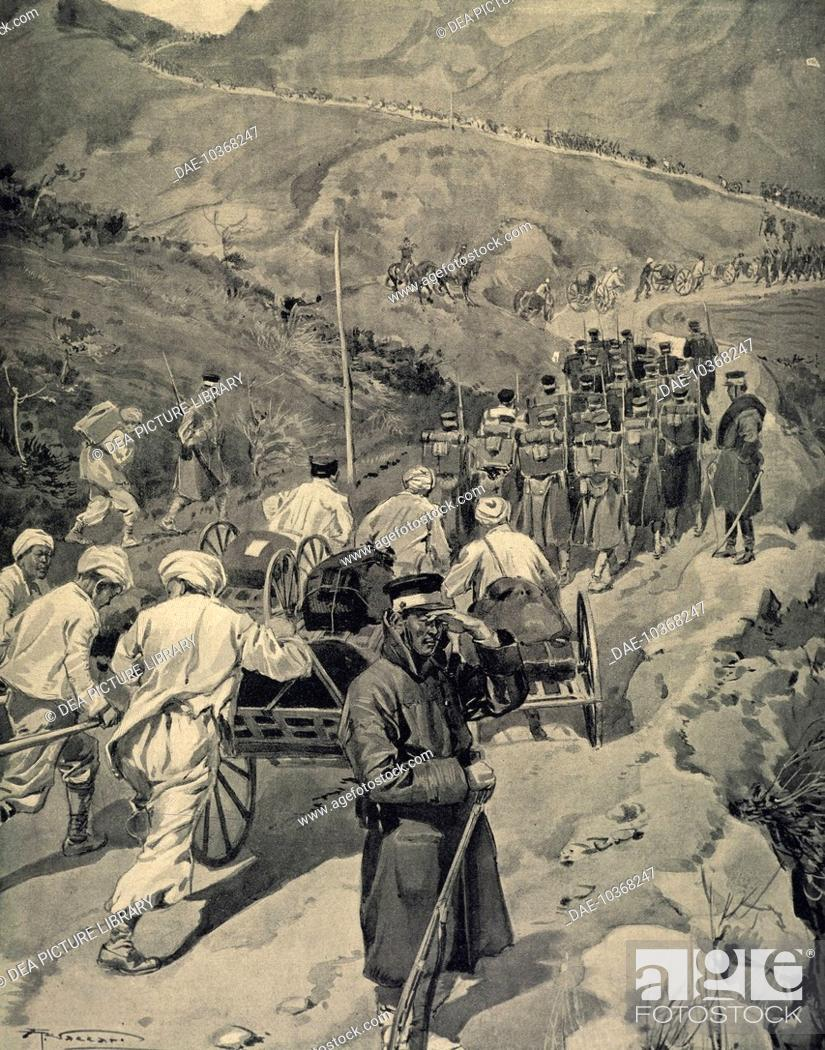 Stock Photo: The Japanese army stationed at Ping-Yang sending detachments across the massifs between Ping-Yang and Andjou, 1904-1905, engraving from Le Monde Illustrious.