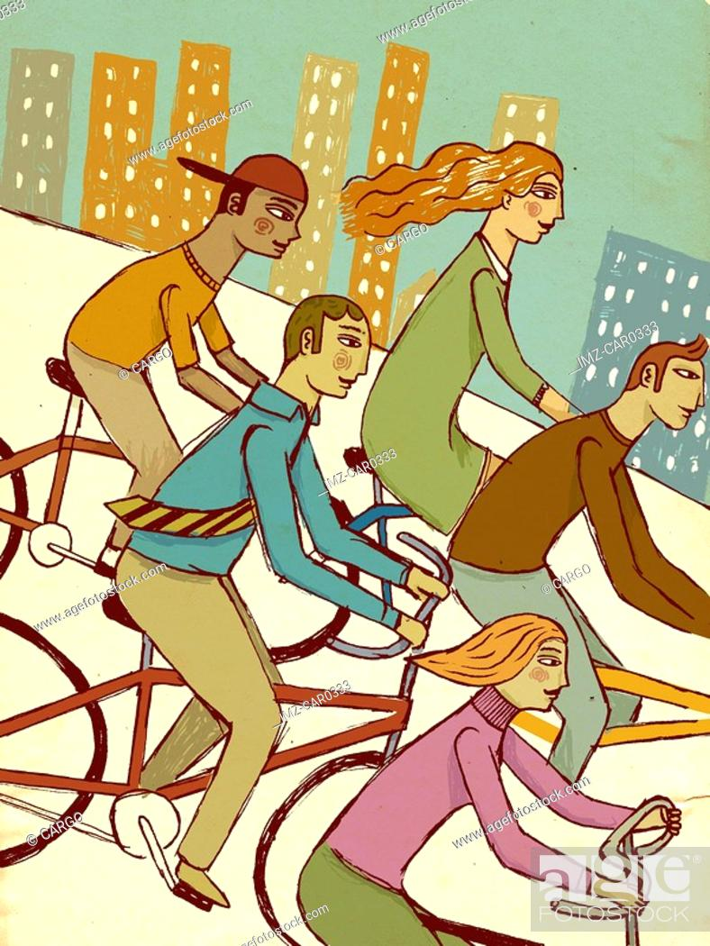Stock Photo: Five people riding their bikes in the city.