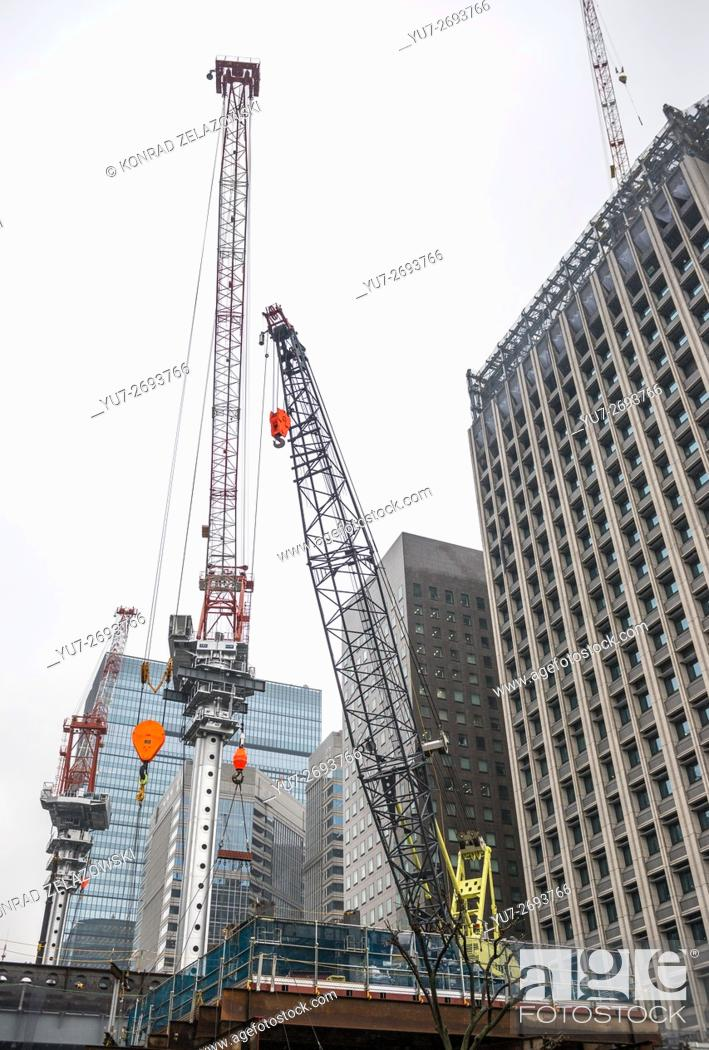 Stock Photo: Building site in Marunouchi commercial dsitrict of Chiyoda special ward, Tokyo city, Japan.
