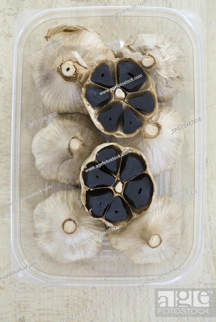 Stock Photo: Black garlic.