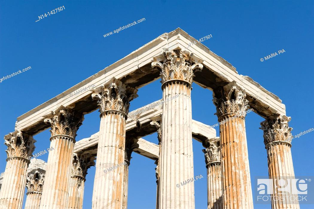 Stock Photo: Detail of the temple's Corinthian capitals and architraves, Temple of Zeus, Athens, Greece.