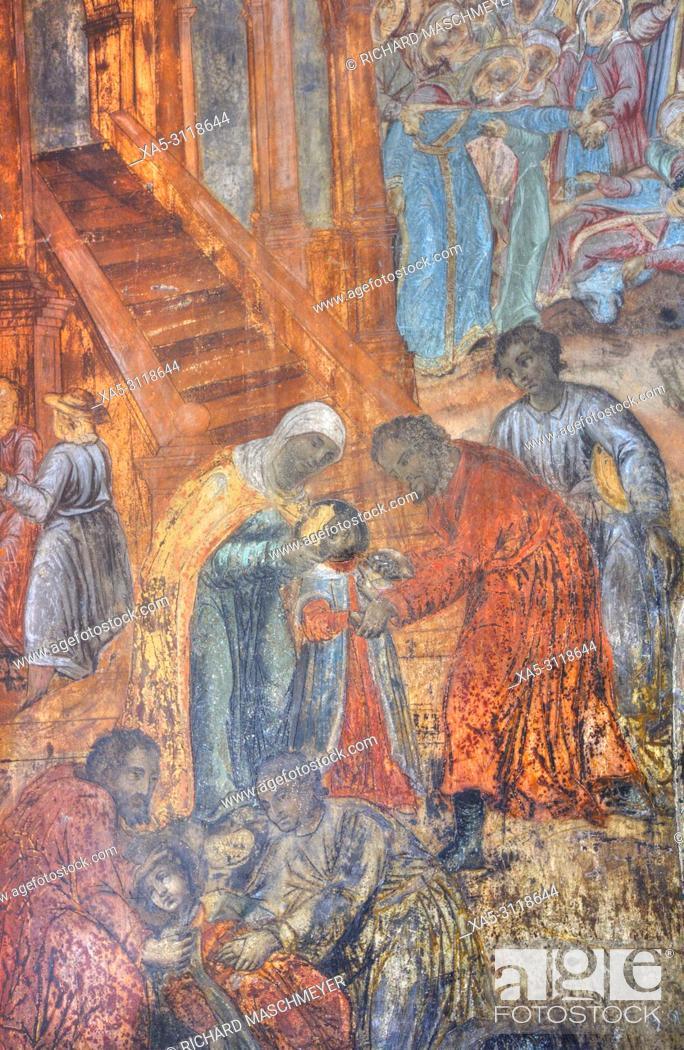 Imagen: Frescoes, Church of Prince Demitry the Martyr, Uglich, Golden Ring, Yaroslavl Oblast, Russia.