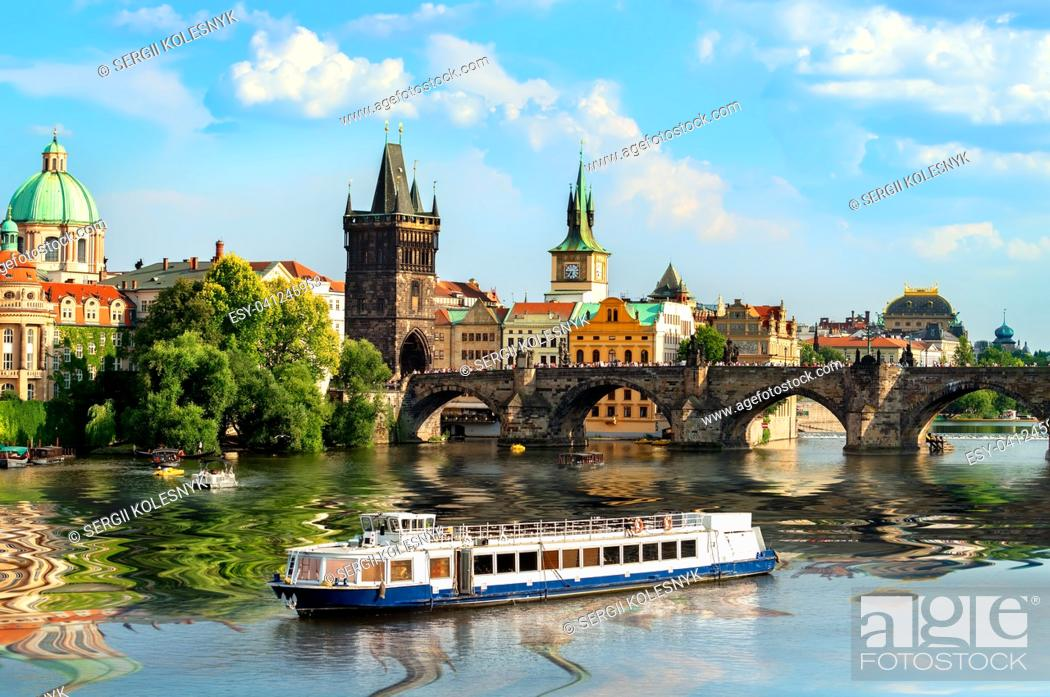 Stock Photo: Touristic boat near the Charles bridge in Prague.