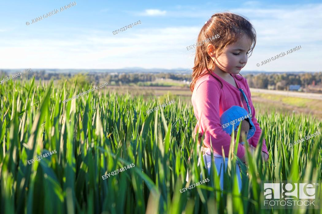 Imagen: Little girl and her doll walking through green cereal field at sunset, Spain.