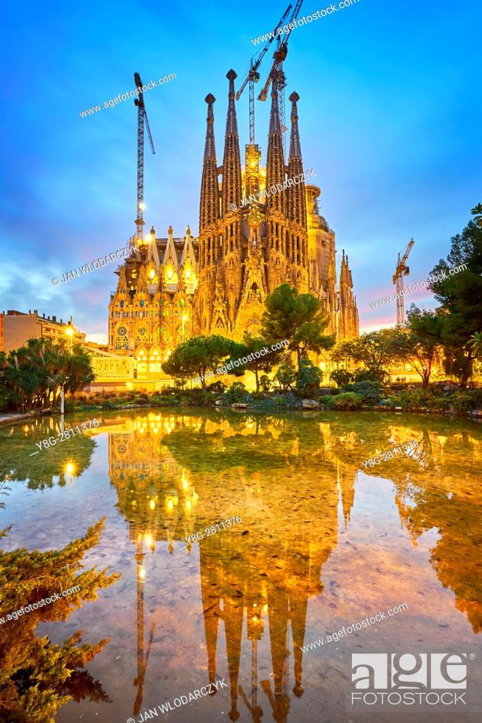 Stock Photo: Sagrada Familia design by Antoni Gaudi, Barcelona, Catalonia, Spain.